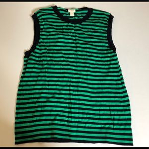 J Crew Sleeveless Shell Navy and Green Striped